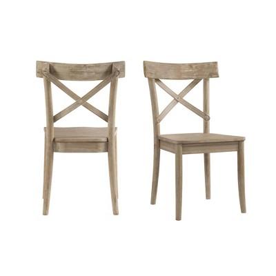 2pc Keaton X Back Wooden Side Chair Set Beach - Picket House Furnishings