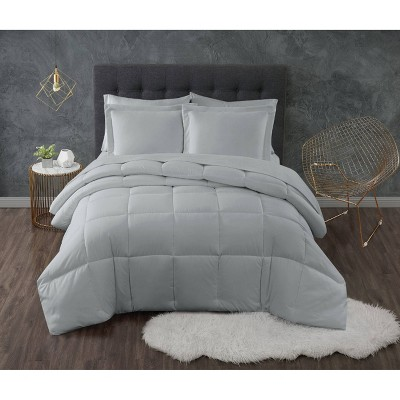 King 3pc Antimirobial Down Alternative Comforter Set Gray - Truly Calm