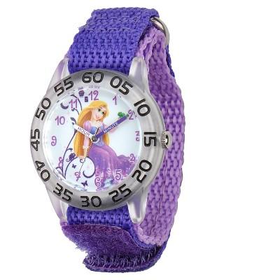 Girls' Disney Princess Rapunzel Clear Plastic Time Teacher Watch - Purple