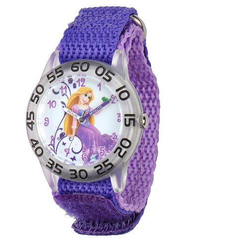 Girls' Disney Princess Rapunzel Clear Plastic Time Teacher Watch - Purple - image 1 of 4