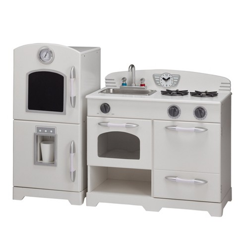 Teamson Kids Retro Wooden Play Kitchen - White (2pc)