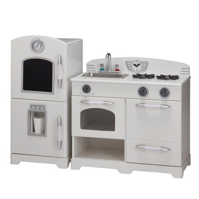 Teamson Kids Retro Wooden Play Kitchen   White (2pc)