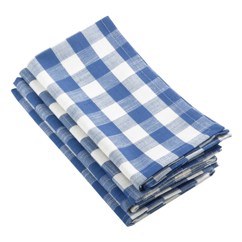 "Image of ""4pk Blue Gingham Design Napkin 20"""" - Saro Lifestyle"""