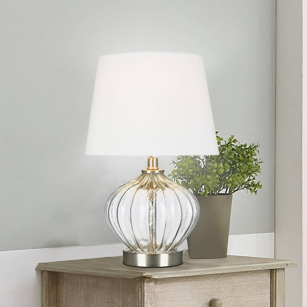 "Image of ""16.5"""" Clear Glass Accent Lamp (Includes Energy Efficient Light Bulb) - Cresswell Lighting"""