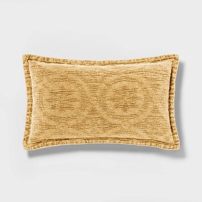 Washed Chenille Lumbar Pillow Yellow - Threshold™