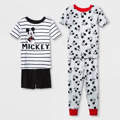 Toddler Boys' 4pc 100% Cotton Mickey Mouse Pajama Set - White 4T