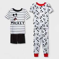 Toddler Boys' 4pc 100% Cotton Mickey Mouse Pajama Set - White