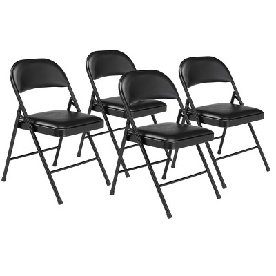 Set of 4 Vinyl Padded Steel Folding Chairs Black - Hampton Collection