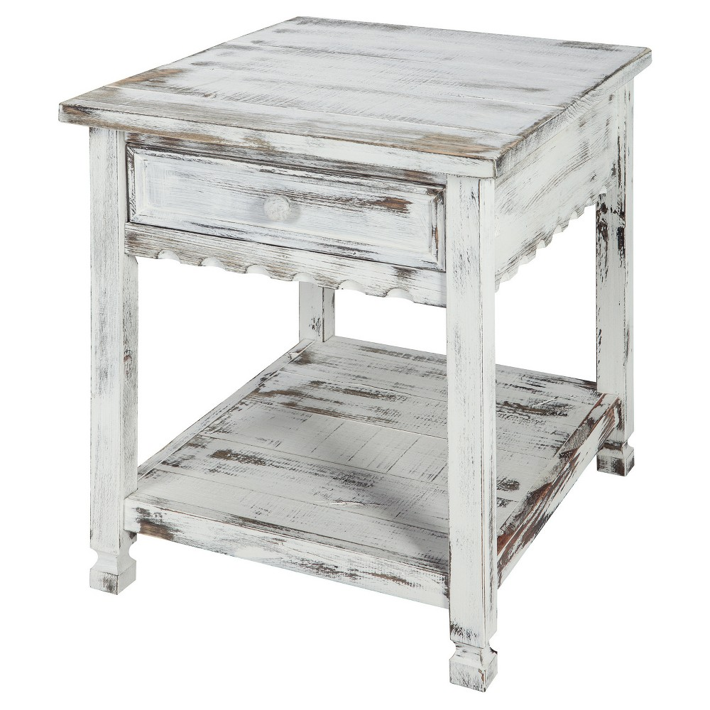 Image of 1-drawer End Table Hardwood White - Alaterre Furniture
