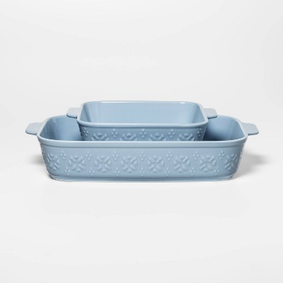 2pc Stoneware Floral Bakeware Set Blue - Threshold™