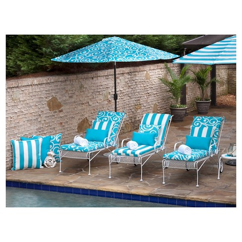 Pillow Perfect Best Outdoor Chaise Lounge Cushion Blue Target