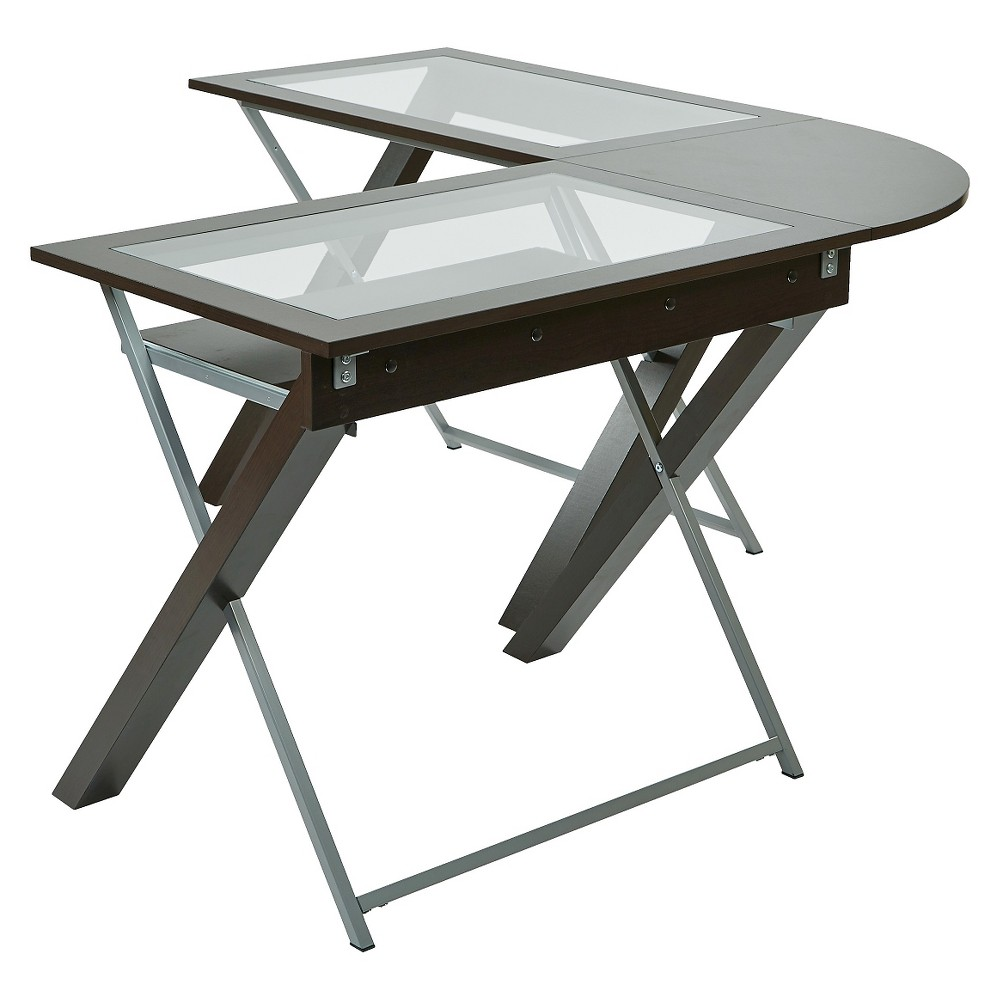 L Shaped Computer Desk with Glass Top - Osp Home Furnishings, Brown