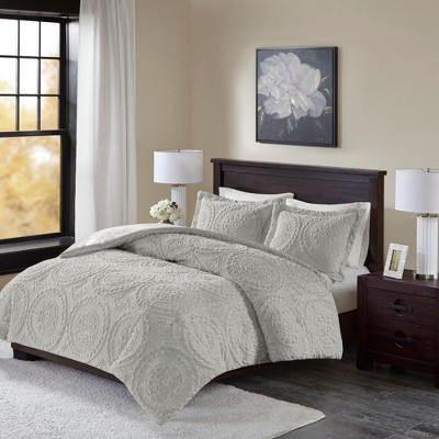 3pc Full/Queen Alivia Ultra Plush Comforter Mini Set Gray