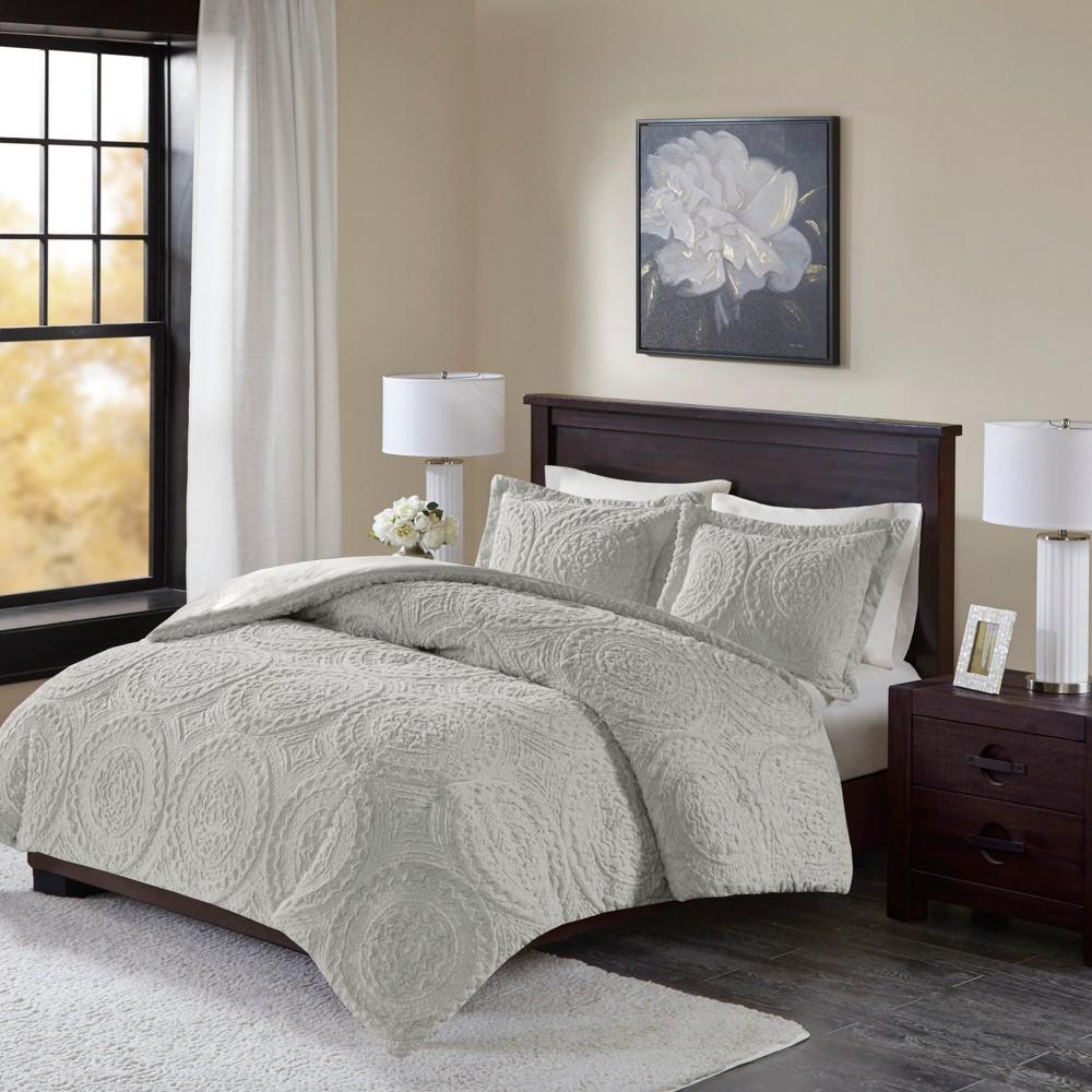 Image of 2pc Twin Alivia Ultra Plush Comforter Mini Set Gray