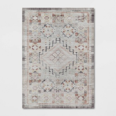 5'x7' Distressed Geo Persian Rug Blush - Opalhouse™