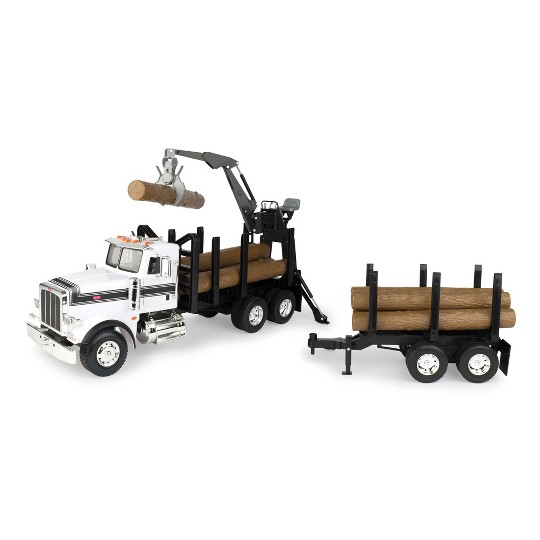 Big Farm Peterbilt Model 367 Logging Truck with PUP Trailer & Logs image number null