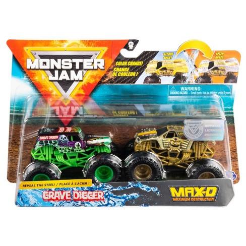 Monster Jam 1:64 2 Packs (Reveal The Steel) - Grave Digger vs Max D - image 1 of 4