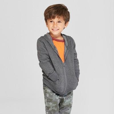 Toddler Boys' Fleece Zip-Up Hoodie - Cat & Jack™ Charcoal 12M