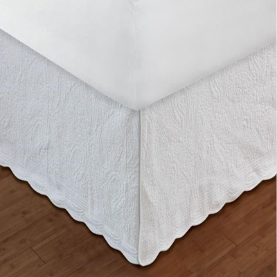 "Greenland Home Fashion White Paisley Bed Skirt 18"", Quilted"