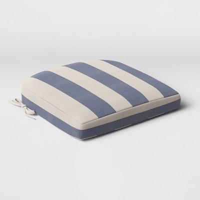 Cabana Stripe Outdoor Rounded Seat Cushion DuraSeason Fabric™ Navy - Threshold™