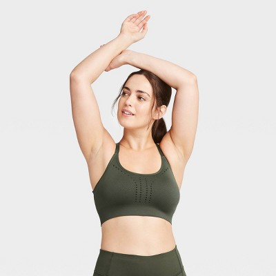 Women's Low Support Laser Cut Seamless Bra - All in Motion™ Olive Green XL