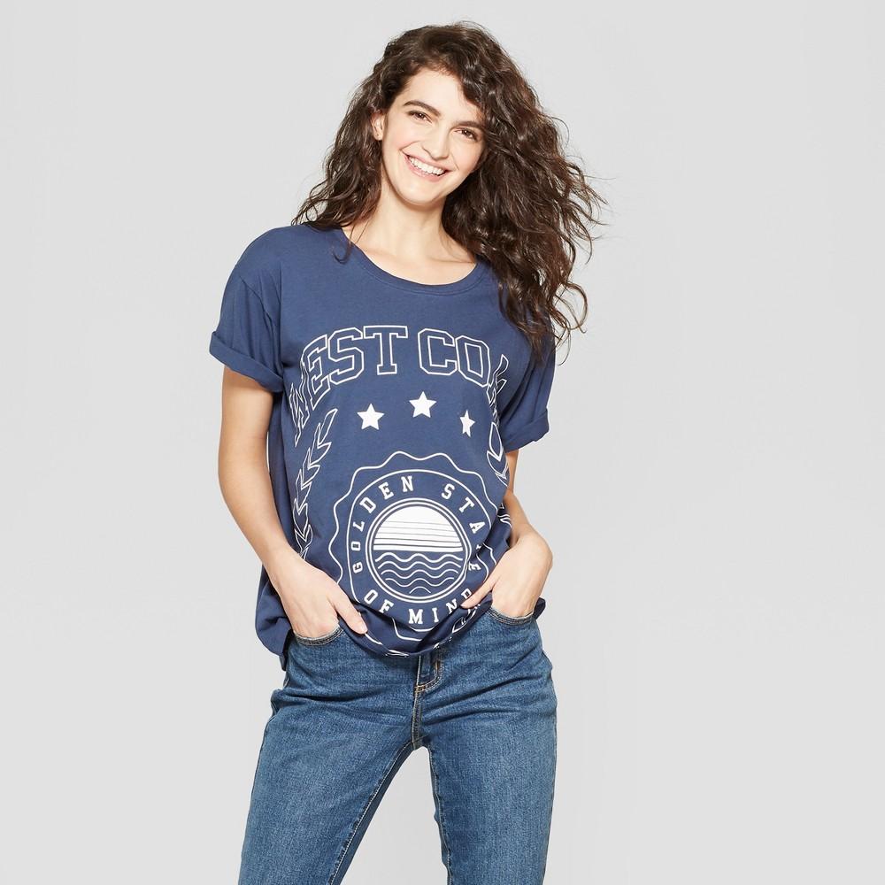 Women's Short Sleeve West Coast Graphic T-Shirt - Modern Lux (Juniors') Blue M