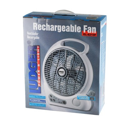Ludger Power and Light EL-8210F Portable 10 Inch Rechargeable Utility Fan with LED Lights and FM Radio for Hunting, Camping, and Survival Gear