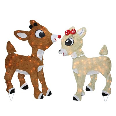 """Northlight 32"""" Set of 2 Lighted Rudolph and Clarice Outdoor Christmas Yard Decoration"""