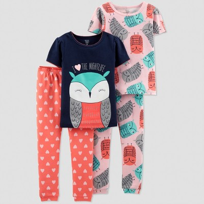 Toddlers Girls' 4pc Owl South Pajama Set - Just One You® made by carter's Blue 3T