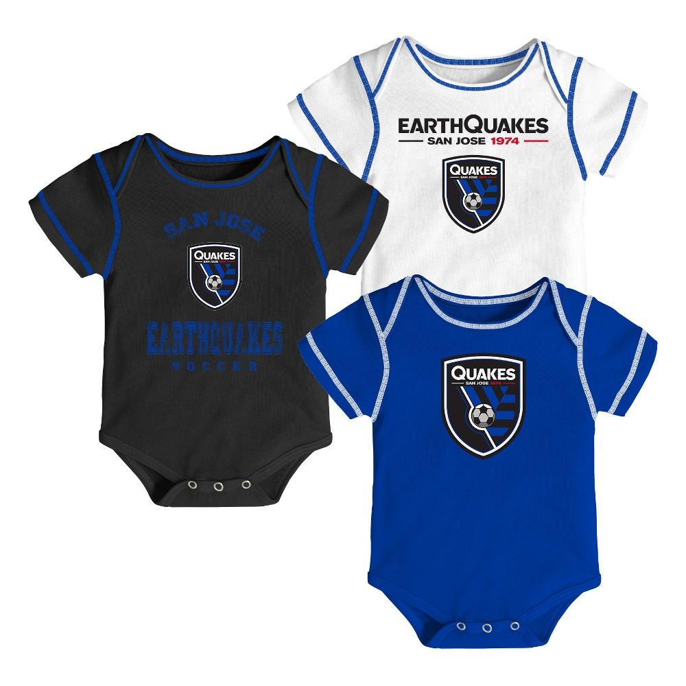 Youngest Fan 3pk Body Suit Set San Jose Earthquakes 3-6M, Boy's, Multicolored