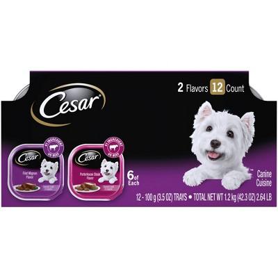 Cesar Classic Loaf in Sauce Wet Dog Food Filet Mignon & Porterhouse Steak Flavors - 3.5oz/12ct Variety Pack