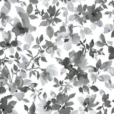 "RoomMates 28.2"" Watercolor Floral P&S Wallpaper Black"