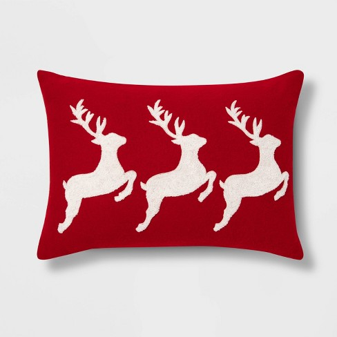 Embroidered Reindeer Throw Pillow Red/White - Threshold™ - image 1 of 3