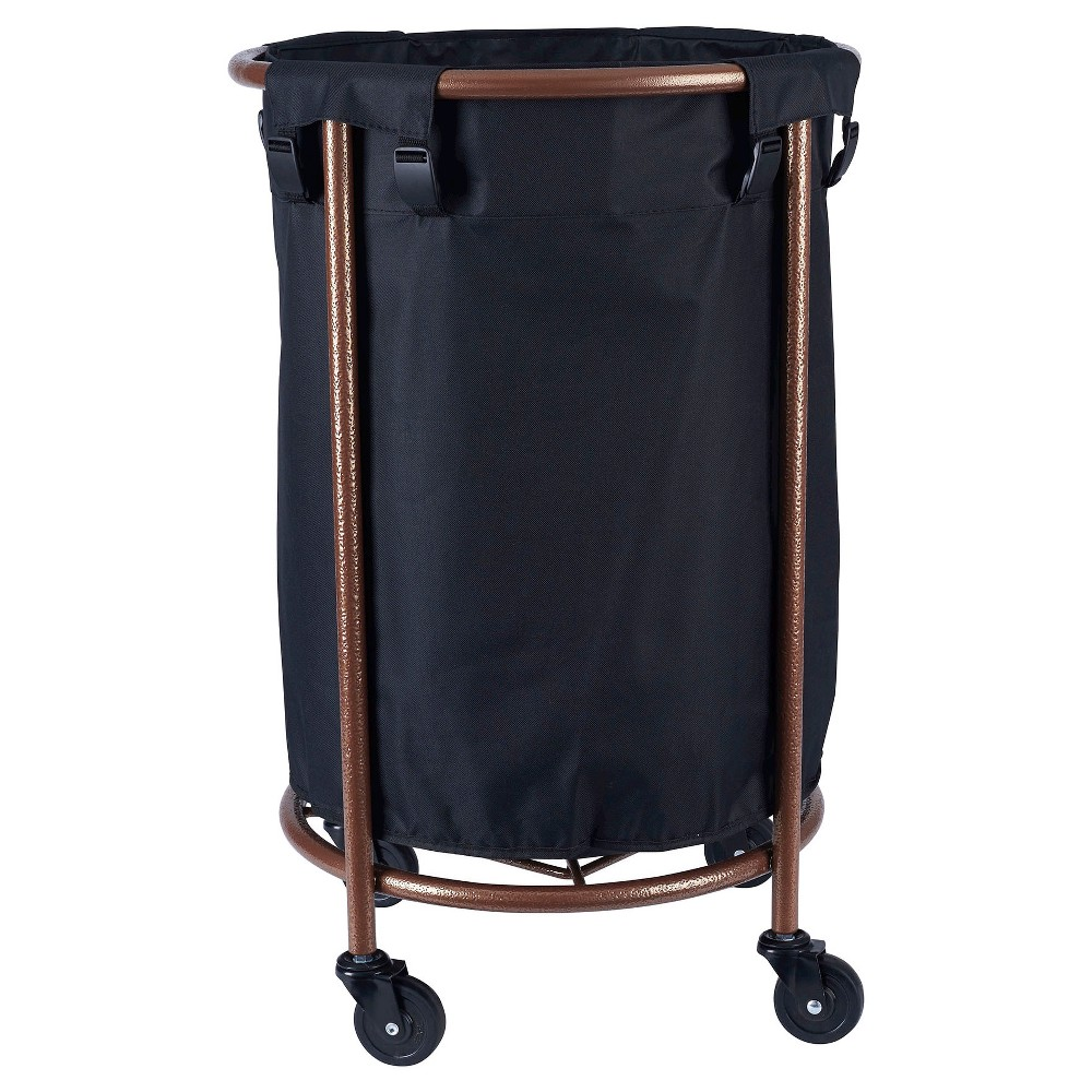 Image of Household Essentials - Rolling Round Laundry Hamper - Copper/Black