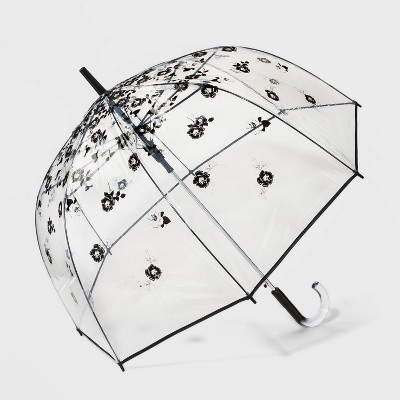 Cirra by ShedRain Floral Print Women's Clear Bubble Stick Umbrella - Black/Silver