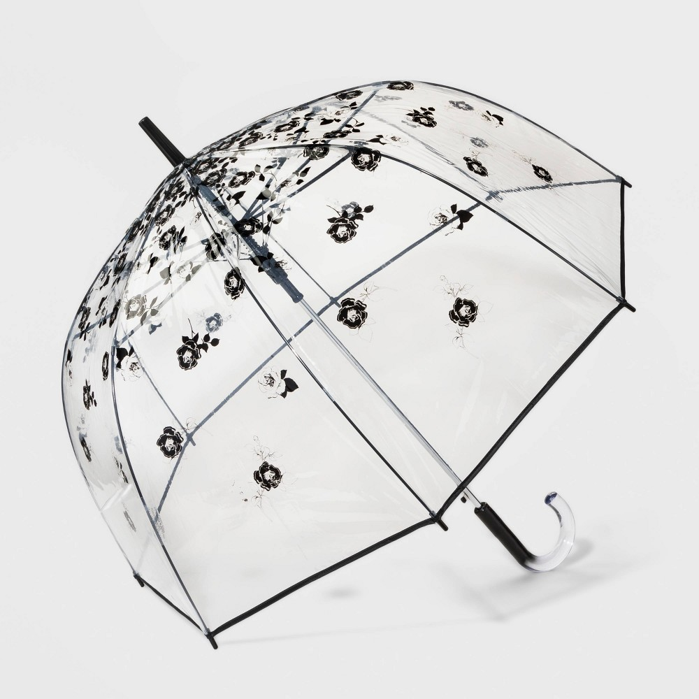 Image of Cirra by ShedRain Floral Print Women's Bubble Stick Umbrella - Clear, Adult Unisex, Size: Small