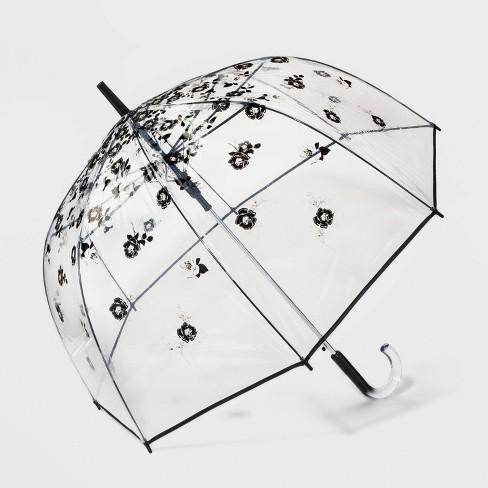 Cirra by ShedRain Floral Print Women's Bubble Stick Umbrella - Black/Silver - image 1 of 2
