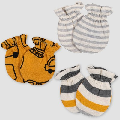 Gerber Baby Boys' 3pk Vehicle Mitten - Gold/Gray 0-3M