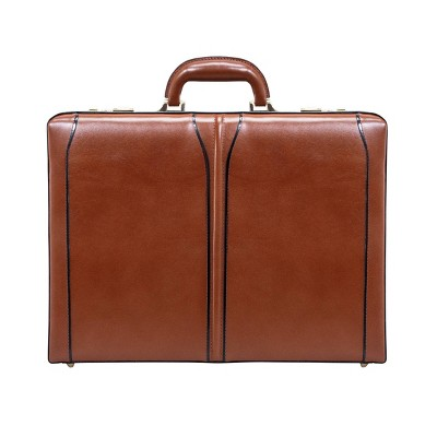 "McKlein Lawson Leather 3.5"" Attache Briefcase - Brown"