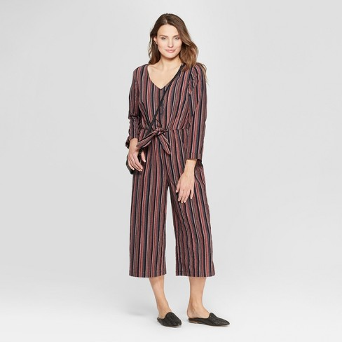 f8e0a362cb69 Women s Long Sleeve Striped Tie Front Jumpsuit - Universal Thread™ Navy