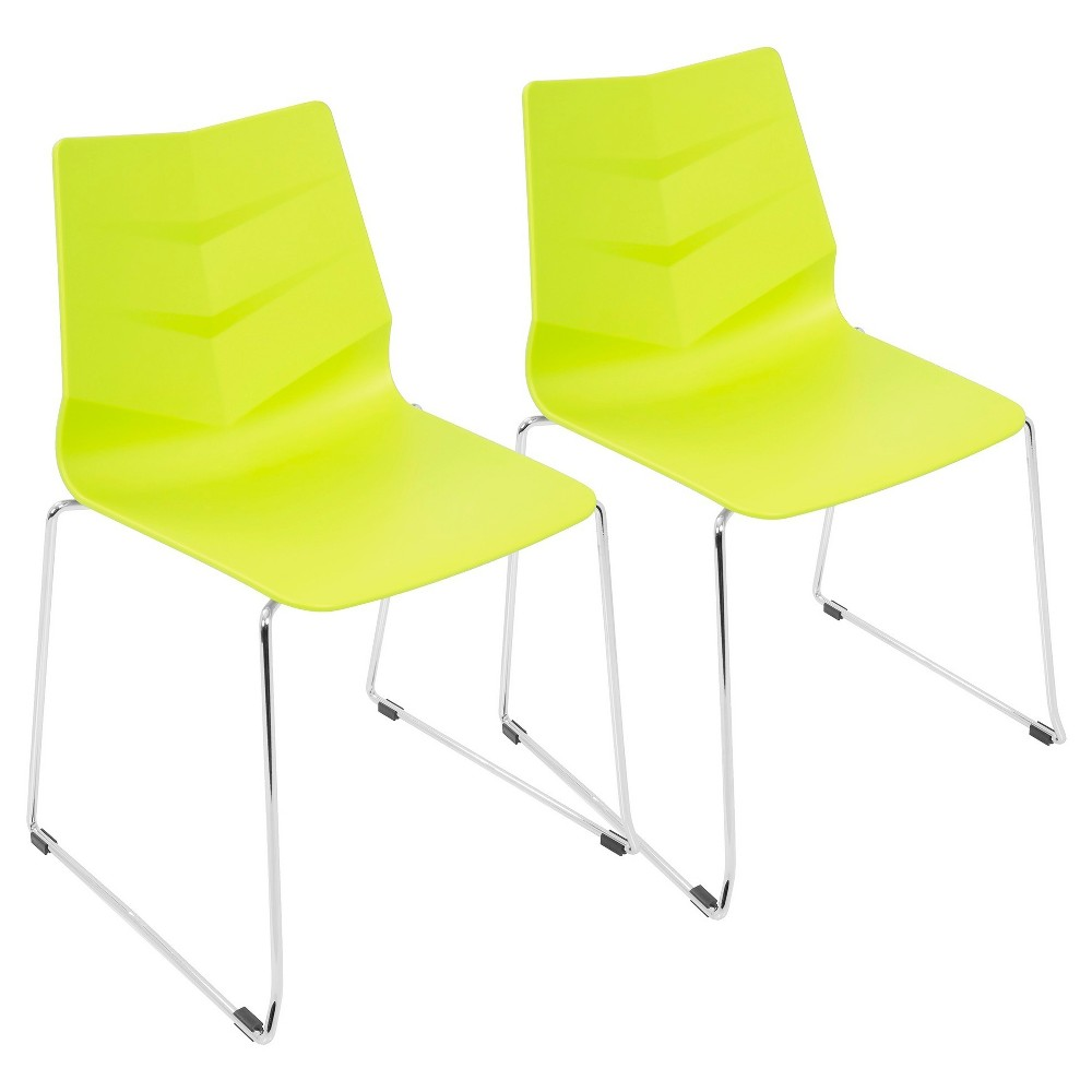 Arrow Contemporary Dining Chair (Set of 2) - Lime Green - Lumisource