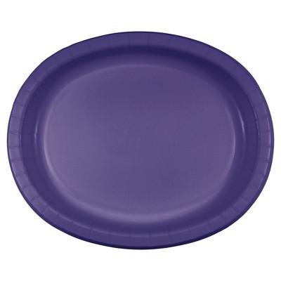 "Purple 10"" x 12"" Oval Platters - 8ct"