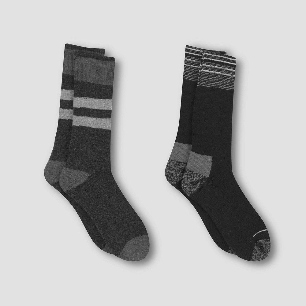 Image of Men's Outdoor Heavyweight Wool Blend Crew Socks 2pk - C9 Champion Black/Chalk White 6-12, Men's, Size: Small