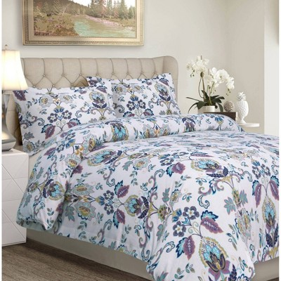 3pc Abstract Paisley Cotton Flannel Printed Oversized Duvet Set - Tribeca Living