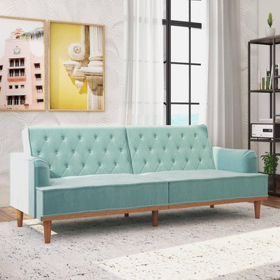 Stella Vintage Convertible Sofa Bed Futon Teal Velvet - Mr. Kate