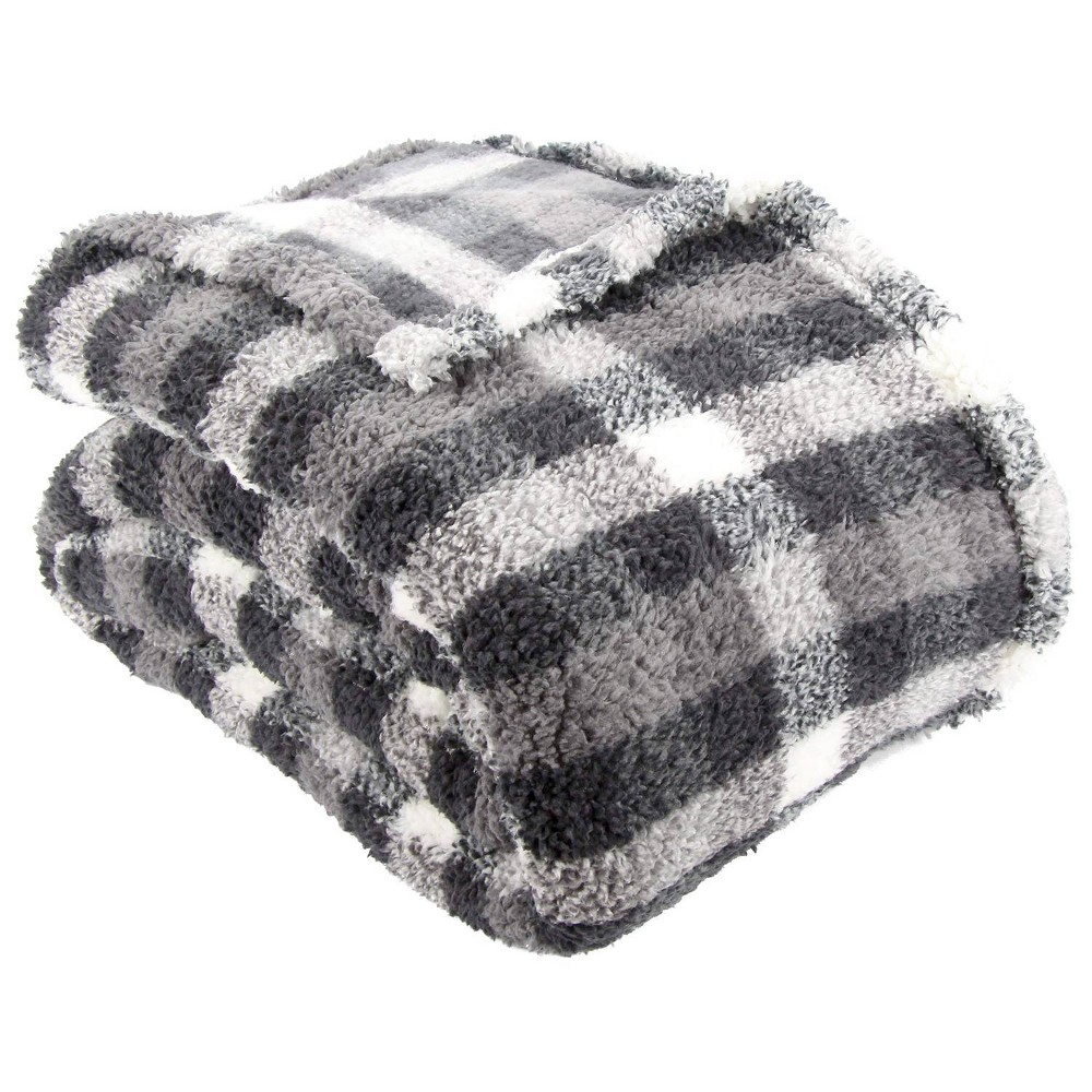 Image of Lodge Collection King Printed Pattern Sherpa Bed Blanket Charcoal Plaid - Posh Home, Grey Plaid