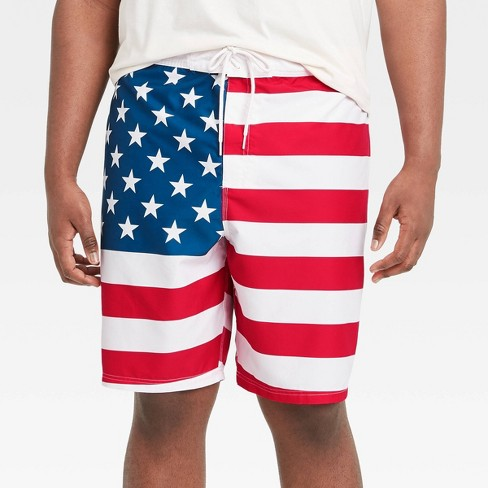 "Men's Big & Tall 7"" Americana Swim Trunks - White - image 1 of 2"