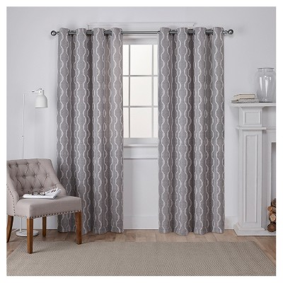 "54 X 108"" Baroque Textured Linen Jacquard Room Darkening Window Curtain Panel Ash Gray - Exclusive Home"