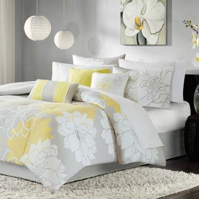 Brianna 7 Piece Print Comforter Set - Gray/Yellow (King)