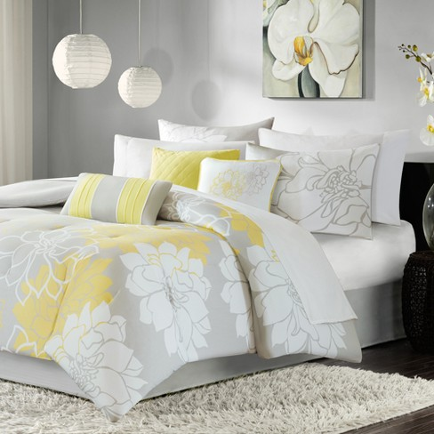 Brianna Comforter Set Twin Twin Extra Long Gray Amp Yellow